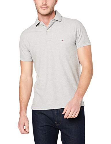 Tommy Hilfiger Herren CORE Hilfiger Slim Polo Poloshirt, Grau (Cloud Htr 501), Medium (Herstellergröße: MD)