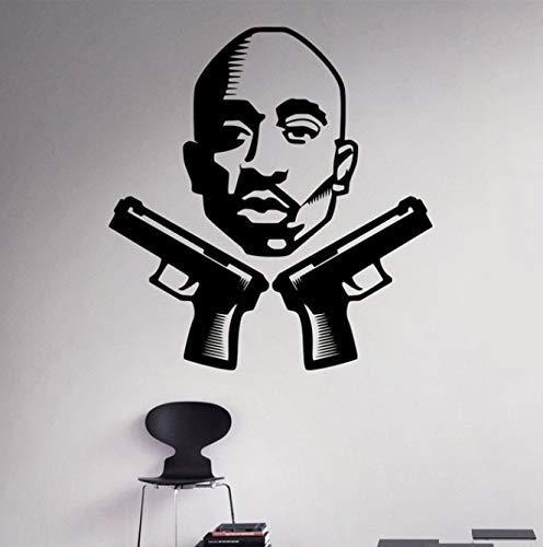 Diy Wandtattoo 2Pac Wandaufkleber Rapper Hip Hop Home Interior Schlafzimmer Dekor Wandaufkleber 58 X 62 Cm