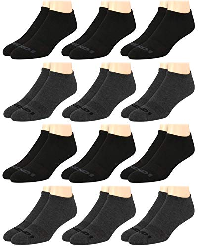 AND1 Men's Athletic Arch Compression Cushion Comfort No Show Socks (12 Pack) (Black/Gray, Shoe Size: 6-12.5)