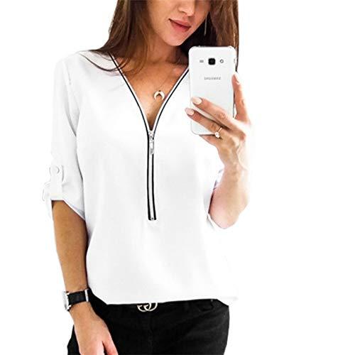 SERAPHY Camicetta Donna Tunica Top Mezza Manica Top Camicetta Camicetta Donna Camicia Chic T-Shirt Cerniera Scollo a V con Zip-WH-M