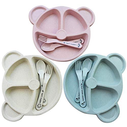 TBEONE Placas divididas paja de trigo conjuntos, juego de platos de vajilla en forma de oso de dibujos animados, respetuoso con el medio ambiente, platos de vajilla tenedores de cuchara