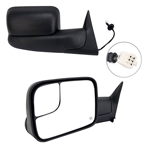 Perfit Zone TOWING MIRROR PAIR SET Replacement for 98-02 RAM 1500 2500 3500 Powered Heated Black