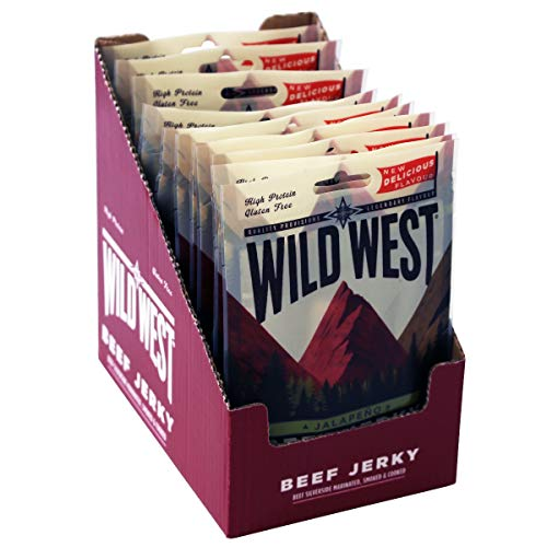 Wild West Jalapeno Flavour Beef Jerky Box of 12 x 35g Packs