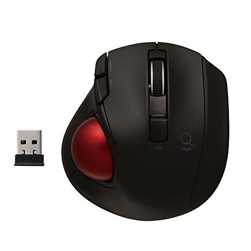 Digio2 トラックボールマウス 小型 2.4GHz ワイヤレス 5ボタン ブラック Z8358