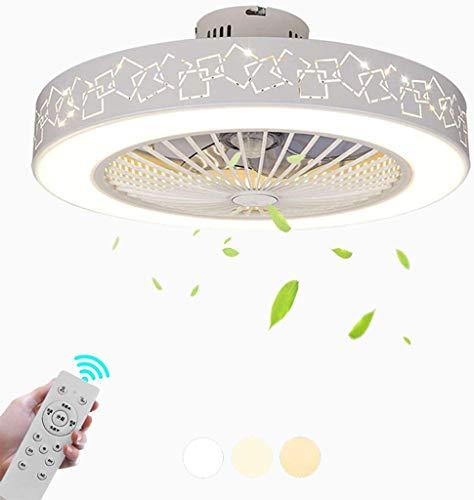 CattleBie Lámpara de techo Luz silenciosa Fan de Nordic LED moderna Ronda de atenuación Ultra-Quiet ahorro de energía Lámpara del dormitorio minimalista Ventilador de techo de la lámpara ahorro de ene