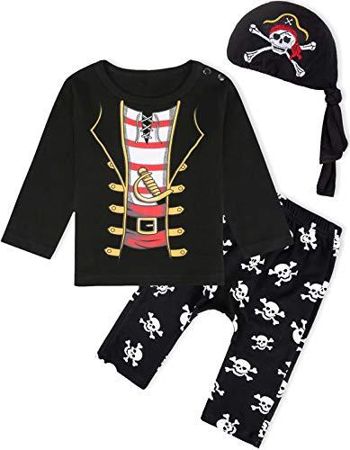 MOMBEBE COSLAND Déguisement Pirate Bébé Garçons Ensemble Halloween Costume, 6-12 Mois, Noir
