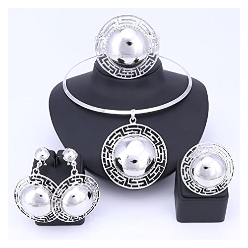 ZCPCS Conjuntos de joyería Nupcial de Boda para Mujer Collar Pulsera Pendientes Anillos Color de Oro Dubai Africano Beads Accesorios (Metal Color : Silver)