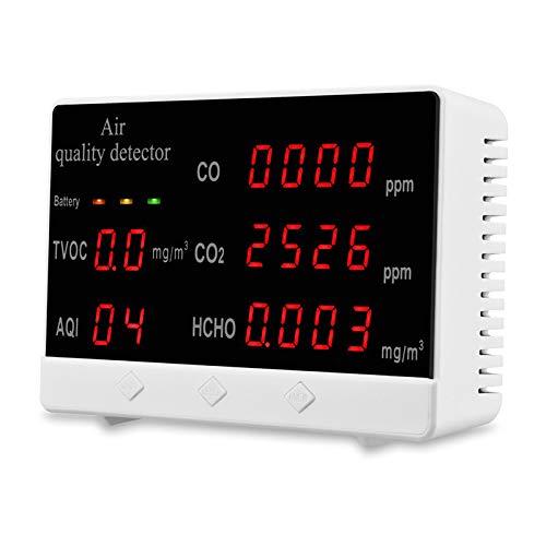 Elikliv Monitor de Calidad del Aire, Detector para HCHO TVOC AQI, Medidor de CO2 Multifuncional con Monitorización de Datos en Tiempo Real 360 Minutos en Espera