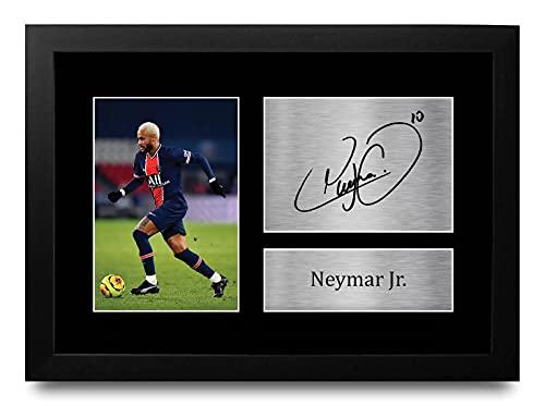 HWC Trading Neymar Jr A4 Enmarcado Regalo De Visualización De Fotos De Impresión De Imagen Impresa Autógrafo Firmado por PSG Los Aficionados Al Fútbol
