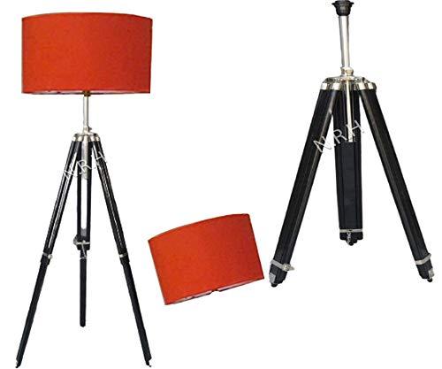 Lámpara de pie trípode de madera con pantalla roja