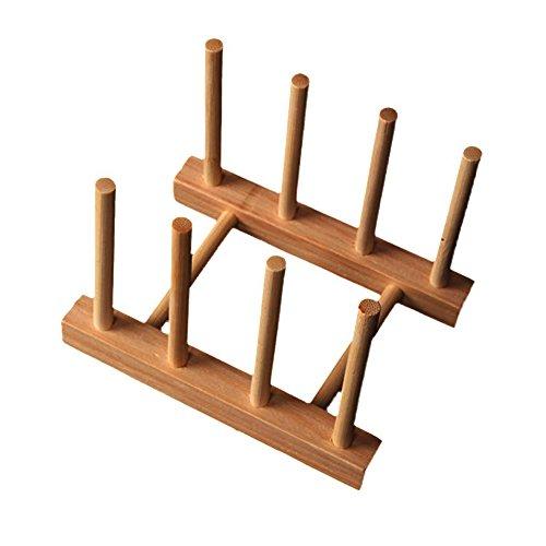 Milopon Abtropfgestel Abtropfhalter Abtropfständer Küche Geschirrkorb Tellerständer aus Bambus-Holz für Teller, Tassen, Buch Geschirrtrockner Abtropfgestell Tellerständer (Bambus)