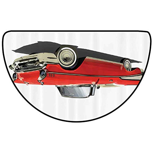 24' L x 16' W Cars Decor Collection Modern Area semicircular Rug Easy to Clean and Water Resistant Old Fashioned Authentic Fancy Car with an Open Roof Top Past Times Transportation Decor Red Silver