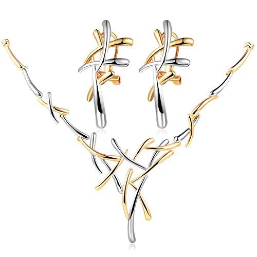 Epinki Damen Schmuck-set, Edelstahl Baum Geäst Form Ohrringe Halskette 43+5.5CM