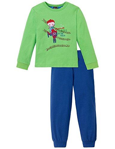 Schiesser Jungen Kn lang Zweiteiliger Schlafanzug, Grün (grün 700), 116