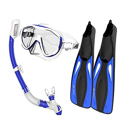 Juego de aletas de buceo con aletas y gafas de esnórquel, juego de aletas de buceo, gafas de buceo, aletas de natación, buceo, paquete de equipo de buceo (color azul, tamaño: L/XL)