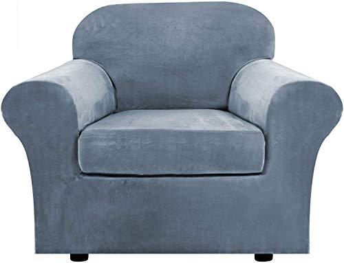 Samt Sofabezug mit 2 separaten Kissenbezügen, Stretch Ultra Soft Plüsch Sofa Schonbezug Ersatz Anti-Rutsch Möbelschutz mit elastischem Boden (, 2-Sitzer (122-172 cm))