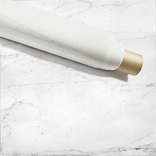 "Instant Granite Counter Top Self-Adhesive Vinyl Laminate Sheets, Great As Kitchen, Wall, Bathroom, Cabinet and Shelf Decor Covers (36' x 72"" Inches, Faux Italian White Marble Design)"