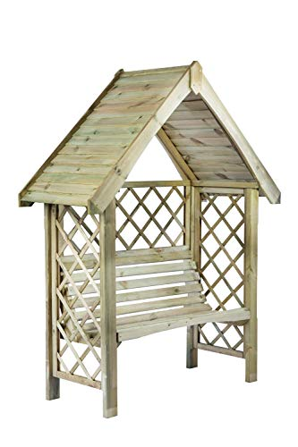 LiveOutside Wooden pergola Oxford with two-seat bench - double beam roof cover - measures: H: 220 cm, (W): 158 cm, (L): 60 cm, trellis on the sides