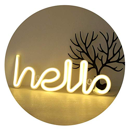 Decorative Accessories GUOCHENG LED Neon Letter Light Hello Shaped Light up Sign Wall Hanging LED Neon Decorations for Bedroom Baby Room Wedding Christmas Party(Warm White),Warm White Hello Wreaths &