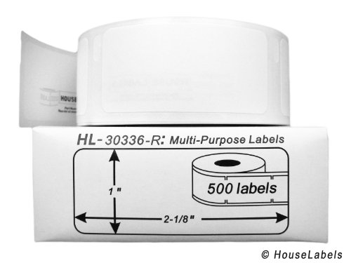 """Fast Ship 6 Rolls; 500 Labels per Roll of Compatible with DYMO 30336-R Removable Multipurpose Labels (1"""" x 2-1/8"""") - BPA Free!"""