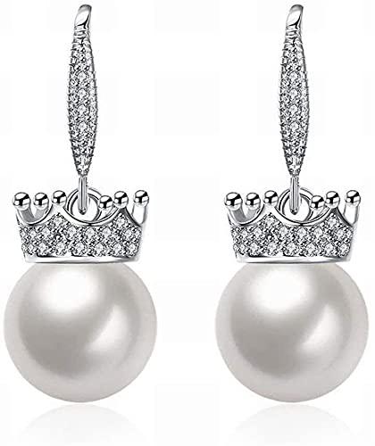 Un par de modelos de perlas de modelado de la corona de alta gama de moda Sra. Pendientes/acero inoxidable/anti-alérgico/plateado parpadeante/Pendientes exquisitos/perlas pequeños, Color: Fo