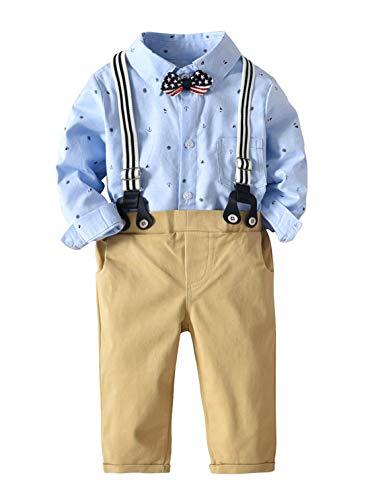 Happy Cherry Costume de Baptême Bébés Garçon Mariage Gentleman Suite Chemise Noeud Pantalon Coton Âge 12-24 Mois