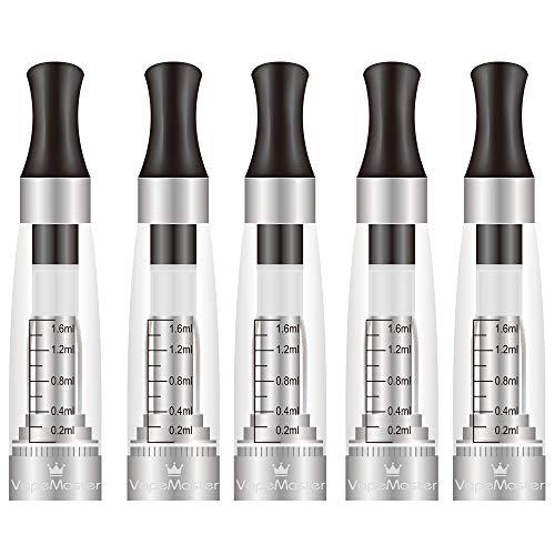 5x Nuevo claromizador CE4cigarrilloelectronico de VapeMaster, adecuado para el kit H2 Vape y las baterías de hilo eGo, fácil llenado superior, sabor puro - sin nicotina