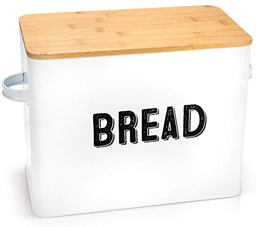 Stylish Farmhouse Bread Box For Kitchen Countertop - Extra Large Breadbox Holds 2+ Loaves Of Bread - Perfect Metal Storage Tin To Keep Your Bread, Bagels, Rolls And Buns Fresh For A Long Time