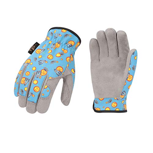 Vgo Kinder von 2-4 J.A, Kinderarbeits- und Gartenhandschuhe, weiche Mikrofaserhandfläche, Handrücken aus...