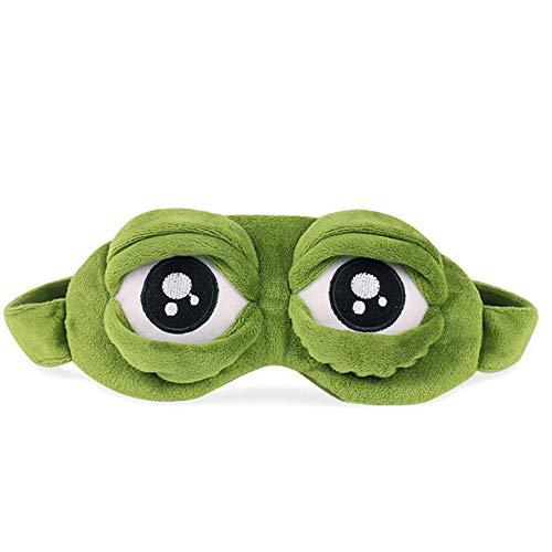 OverDose Damen Schlafmaske Augenbinde Augenklappe Kreative Cartoon Froschschablone Augenabdeckung Flusen Niedlich Die Traurige 3D Rest Schlaf Augenmaske (Grün)