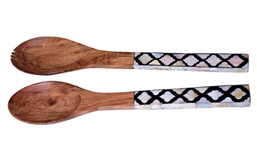 purpledip parelmoer met patroon hout Servieren L?ffel & vork bestek set (10708)