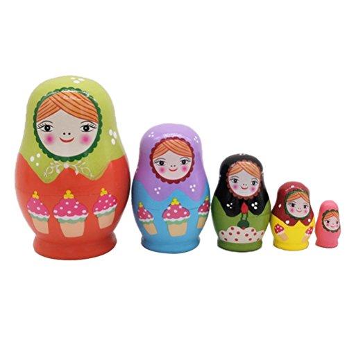 Healifty 5pcs Babuschka Matroschka Holz Russian Nesting Dolls Kinder Spielzeug Geschenk in Mädchen-Form
