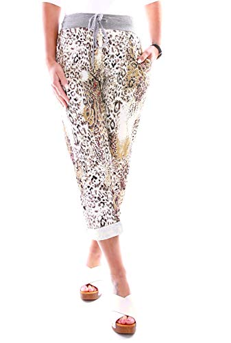 Easy Young Fashion Damen Hose Jogginghose Boyfriend Sweatpants Sweat Jogger Sporthose All-Over Print Leopard Weiß-Braun