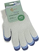 EvridWear Exfoliating Dual Texture Bath Gloves for Shower, Spa, Massage and Body Scrubs, Dead Skin Cell Remover, Gloves with hanging loop (3 Gloves Not 3 pair)