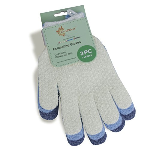 Price comparison product image EvridWear Exfoliating Dual Texture Bath Gloves for Shower,  Spa,  Massage and Body Scrubs,  Dead Skin Cell Remover,  Gloves with hanging loop (3 Gloves Not 3 pair)