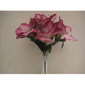 """JumpingLight 6 Bushes Mauve Amaryllis 6 Artificial Silk Flowers 16"""" Bouquet 647MV Artificial Flowers Wedding Party Centerpieces Arrangements Bouquets Supplies"""