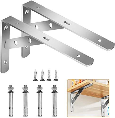 Wall Mounted Shelf Bracket, 2 Pcs 90 Degree L Shaped Brackets Stainless Steel Metal Support Joint Angle Bracket Shelf Heavy Duty Corner Brace Shelf Bracket(105x150mm)…