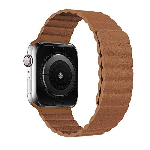 HONGKAN Compatible con Correa de Cuero Apple Watch 38/40/42/44 mm, Correa Ajustable Mejorada con Fuerte Cierre magnético Compatible con iWatch Series 6/5/4/3/2/1/SE (42mm/44mm, Marrón)
