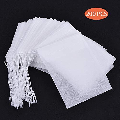 Teebeutel für Losen Tee,200 Stücke Einweg Teefilter Beutel Hochwertiges Papier Teebeutel zum Selbstbefüllen Leeres Teefilterbeutel mit Kordelzug 6x8 cm Weiß