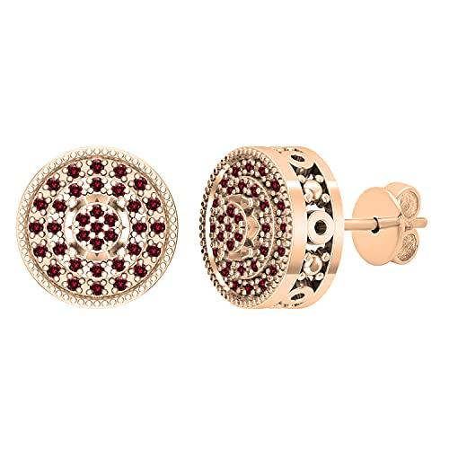 Dazzlingrock Collection Pendientes de tuerca vintage de 0,15 quilates de diamantes rojos redondos con borde milgrain y borde en capas para ella, oro rosa de 14 quilates