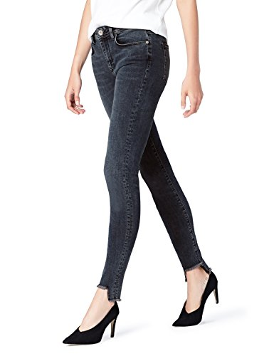 Amazon-Marke: find. Damen Skinny Jeans mit hohem Bund, Blau (Indigo), Small