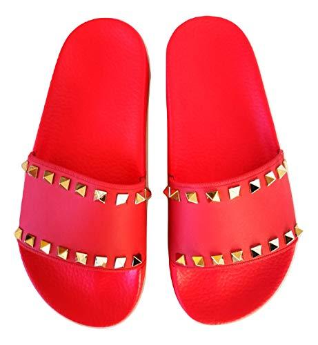 Valentino Damen Slide Rockstud Gummi-Slipper PW2S0076PVS rot, Rot - rot - Größe: 36 EU