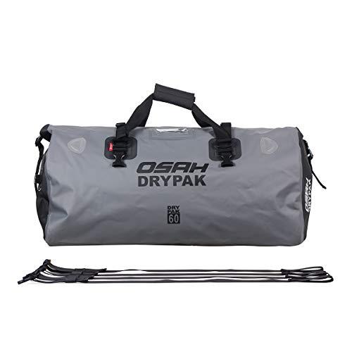 Motorrad Tasche wasserdicht Reisetasche Sattelrolle Gepäck Tasche reflektierend für Motorradfahren, Wandern, Radfahren, Reisen, Camping, Outdoor, Kayaking 60L Grau