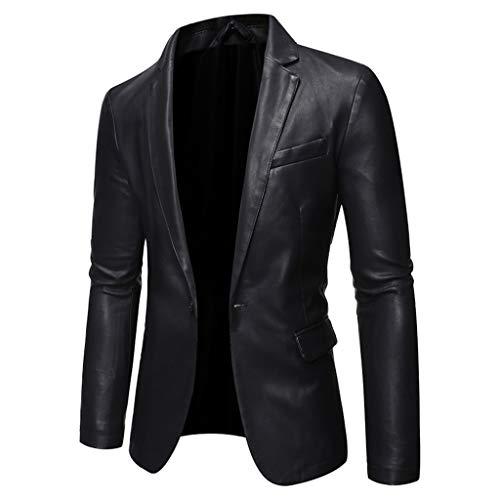 HOUMENGO Herren Übergangsjacke Echtleder Lederjacke Vintage Bikerjacke Mode Motorrad Jacke Softshelljacke