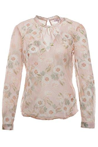 Emily van den Bergh - Bluse - Puder, Rundhals, Blumenmuster, Größe:46