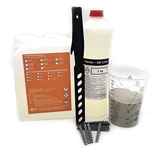 BTT-LH 2K Gießharz 3kg für Risse im Beton und Estrich inkl. Mischbecher, 40 Klammern, 1kg Quarzsand, 1x Rührstab