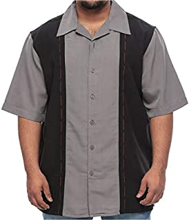 Fuse Big and Tall Short Sleeve Topstitch Design Dress Shirt for Men