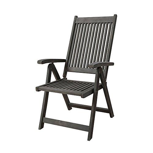 Vifah Renaissance Outdoor Patio Hand-Scraped Wood 5-Position Reclining Chair