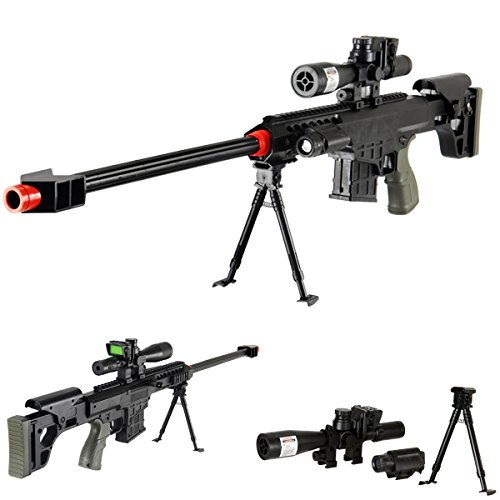 "UKARMS 36"" Elite Airsoft Sniper Rifle 315FPS with Laser, Light, Bipod, and Dummy Scope - #1 Seller -"