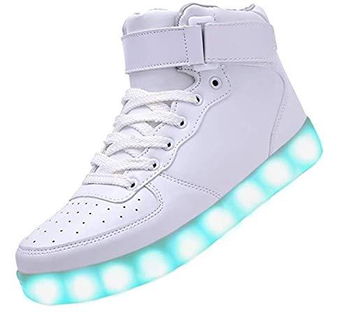 Bling-Bling LED Schuhe - High-Top Sport Sneakers mit in Sieben leuchtender Sohle - Unisex Turnschuh mit USB Anschluss zum Aufladen für Erwachsene - Weiß - Gr. 45